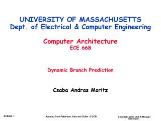 UNIVERSITY OF MASSACHUSETTS Dept. of Electrical  Computer ...