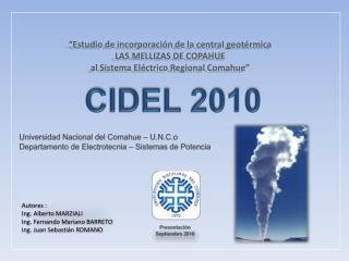 Universidad Nacional del Comahue –  U.N.C.o Departamento de  Electrotecnia – Sistemas de Potencia