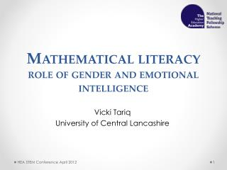 Mathematical  literacy  role  of gender and emotional intelligence