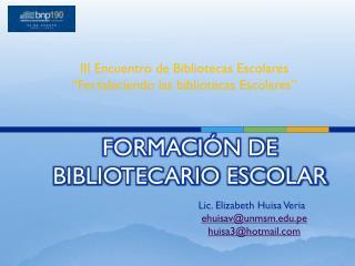 FORMACIÓN DE BIBLIOTECARIO ESCOLAR