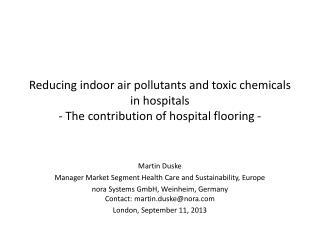 Martin Duske Manager Market Segment Health Care and Sustainability, Europe