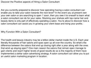 Salon Consultant