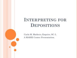 Interpreting for Depositions