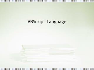 VBScript Language