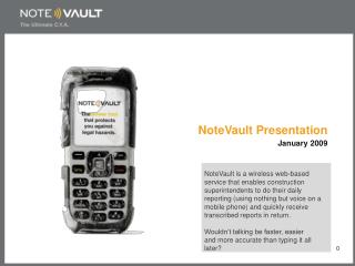 NoteVault Presentation January 2009
