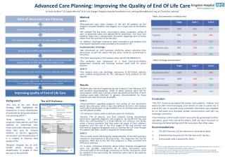 Advanced Care Planning: Improving the Quality of End Of Life Care