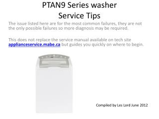 PTAN9 Series washer Service Tips