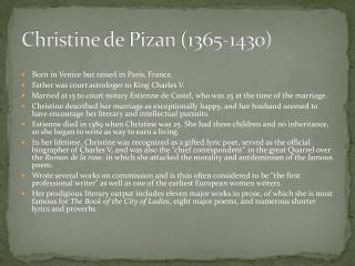 Christine de  Pizan  (1365-1430)