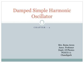 Damped Simple Harmonic Oscillator