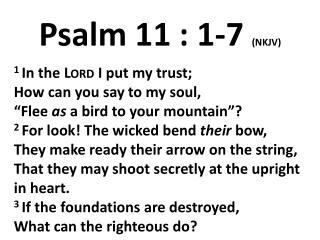 Psalm 11 : 1-7  (NKJV)