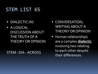 STEM LIST 65