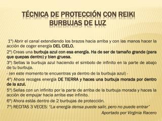 T�cnica de Protecci�n con REIKI BURBUJAS DE LUZ
