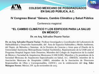 """""""EL CAMBIO CLIMÁTICO Y LOS EDIFICIOS PARA LA SALUD EN MÉXICO""""."""