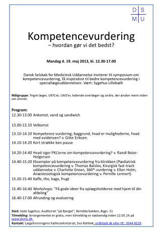 Kompetencevurdering  – hvordan gør vi det bedst? Mandag d. 19. maj 2013, kl. 12.30-17.00
