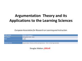 Argumentation  Theory and its Applications to the Learning Sciences