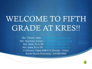 WELCOME TO FIFTH GRADE AT KRES!!