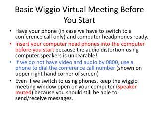 Basic  Wiggio  Virtual Meeting Before You Start