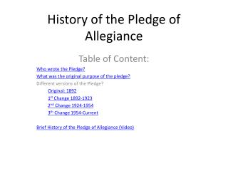 History of the Pledge of Allegiance