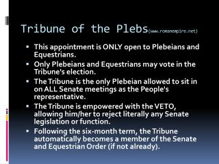 Tribune of the Plebs (www.romanempire.net)
