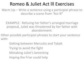 Romeo & Juliet Act lll Exercises