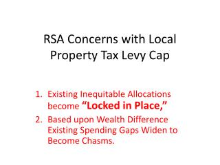 RSA Concerns with Local Property Tax Levy Cap