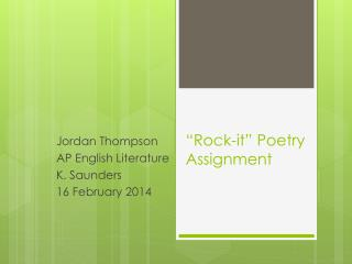 """Rock-it"" Poetry Assignment"