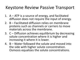 Keystone Review Passive Transport