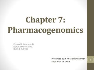 Chapter 7:  Pharmacogenomics