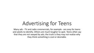Advertising for Teens