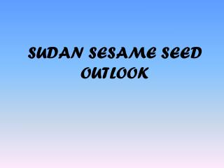 SUDAN SESAME SEED OUTLOOK