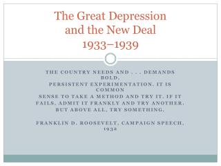 The Great Depression and the New  Deal 1933–1939