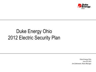 Duke Energy Ohio 2012 Electric Security Plan