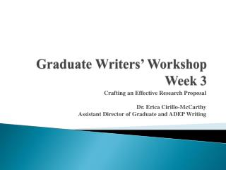 Graduate Writers� Workshop Week 3