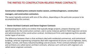 THE PARTIES TO CONSTRUCTION-RELATED PRIME CONTRACTS