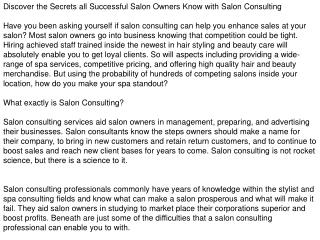 Salon Consulting