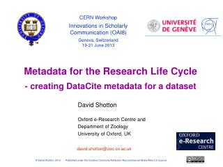 DataCite metadata for datasets – a single metadata entry page