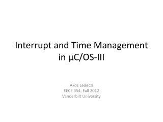 Interrupt and Time Management in �C/OS-III