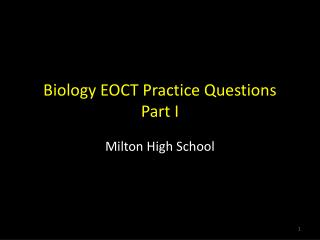 Biology EOCT Practice Questions Part I