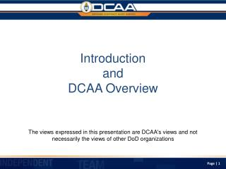 Introduction and DCAA Overview