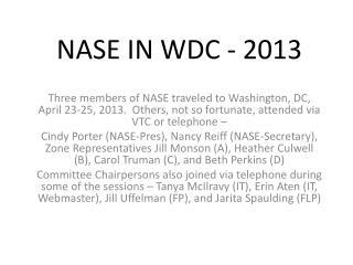 NASE IN WDC - 2013