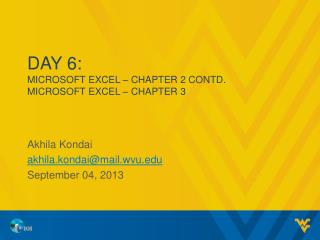 Day  6: MICROSOFT EXCEL – CHAPTER  2 Contd. MICROSOFT EXCEL – CHAPTER  3