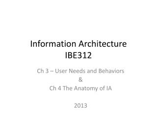 Information Architecture IBE312