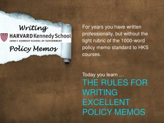 Writing  Policy Memos
