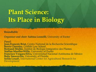 Plant Science: Its Place in Biology
