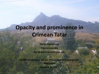 Opacity and prominence in Crimean Tatar