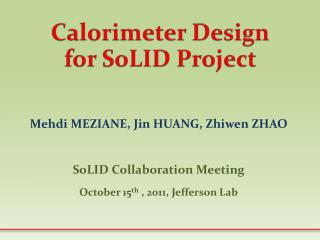 Calorimeter Design for SoLID Project