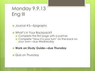 Monday 9.9.13 Eng  III