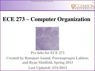 ECE  273 � Computer Organization