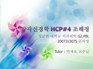 감각신경학  HCP#4  조해정