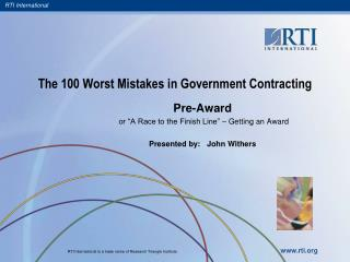 The 100 Worst Mistakes in Government Contracting